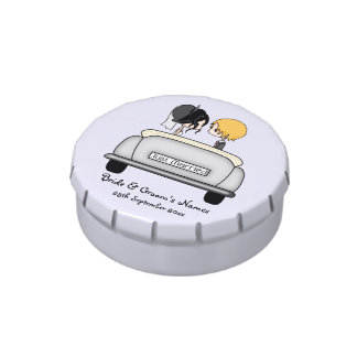 Black Haired Bride & Blonde Groom in Grey Car Candy Tin