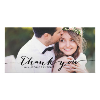 Black Handwritten Script Wedding Thank You Photo Card