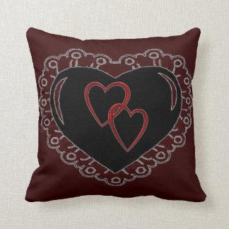 black heart entangled heart cushion