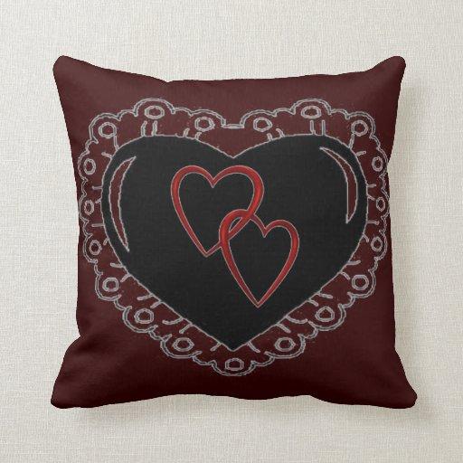 black heart entangled heart pillow