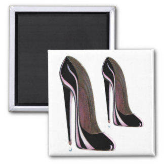 Black High Heel Shoe Fridge Magnet