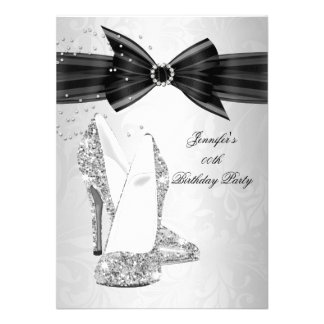 Black High Heel Shoe Silver Diamond Birthday Party Personalized Invite