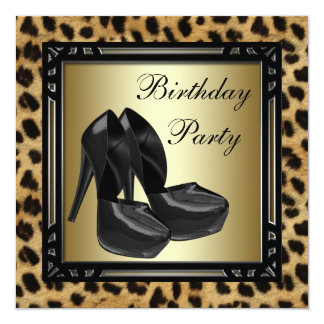 Black High Heel Shoes Leopard Birthday Party Card