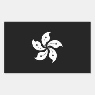 Black Hong Kong Orchid Flower Regional Flag Rectangular Sticker