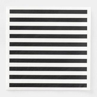 Black Horizontal Stripes Paper Napkin