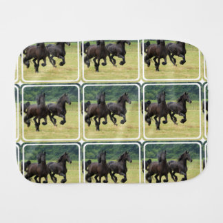Black Horse Baby Burp Cloth