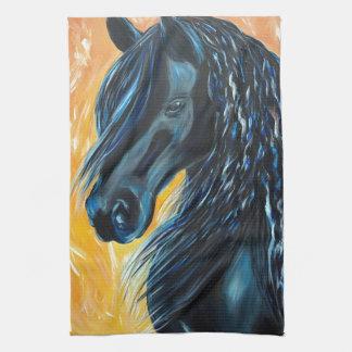 Black Horse Painting Tea Towel