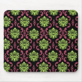 Black, Hot Pink and Green Damask Mouse Pad