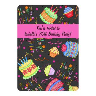 Black Hot Pink Cake 70th Birthday Invitation
