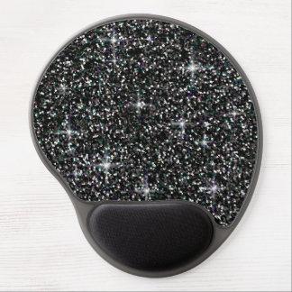 Black iridescent glitter gel mouse pad