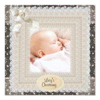 Black Ivory Lace Pearl Girls Photo Christening 13 Cm X 13 Cm Square Invitation Card
