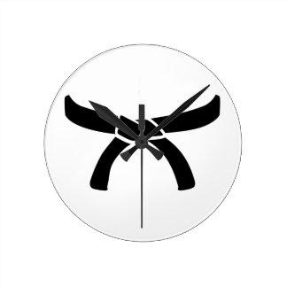 Black judo belt round clock