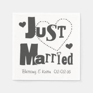 Black Just Married Disposable Paper  Napkins Disposable Serviettes
