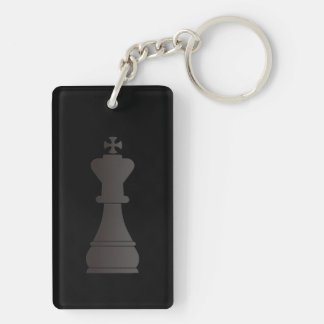 Black king chess piece Double-Sided rectangular acrylic key ring
