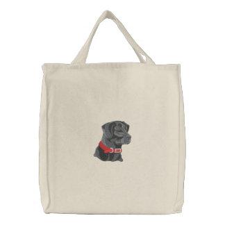 Black Lab Head Embroidered Tote Bag