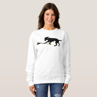 Black Lab Playing Lacrosse Womens Sweatshirt