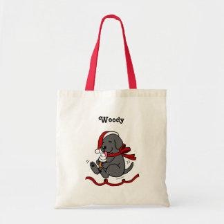 Black Lab Puppy Christmas Cartoon Bags