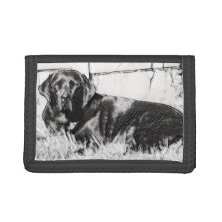 Black Labrador Laying in the Sun Sketch Trifold Wallet