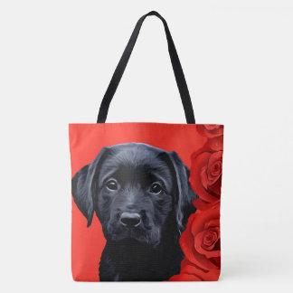 Black Labrador Puppy - Valentine Roses Tote Bag