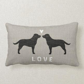 Black Labrador Retrievers with Heart and Text Lumbar Pillow