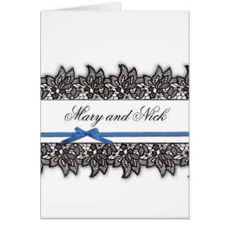 Black lace and Blue Ribbon Card