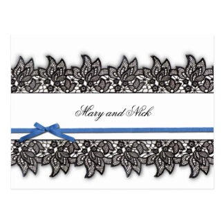 Black lace and Blue Ribbon Postcard