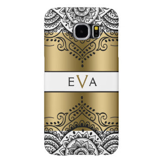 Black Lace & Gold Stripes On White Samsung Galaxy S6 Cases