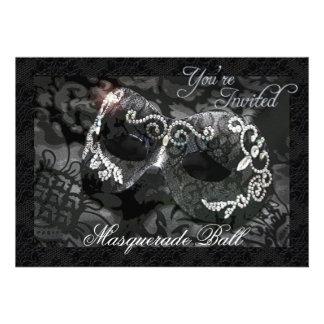 Black Lace Mask Jewelled Masquerade Ball Invitatio
