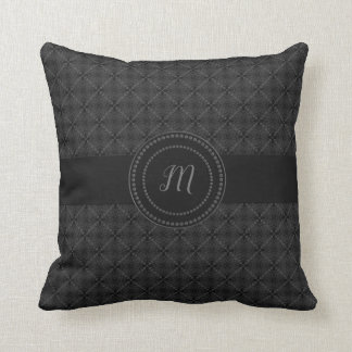 Black Lace Pattern Monogrammed Cushion