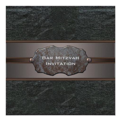 Black Leather Black Bar Mitzvah Invitaitons Custom Invite