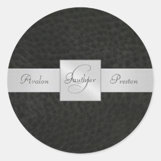Black Leather  Monogram Wedding Sticker