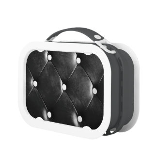 Black Leather Tuck & Roll Lunchbox