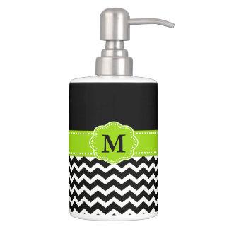 Black Lime Green Chevron Monogram Bath Accessory Sets