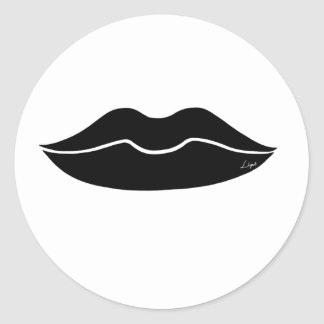 Black Lips Round Sticker