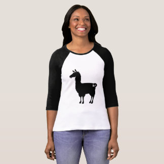 Black Llama Ladies 3/4 T-Shirt