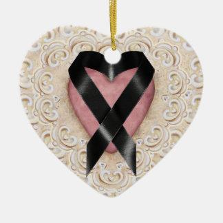 Black Melanoma Ribbon From the Heart - SRF Ceramic Heart Decoration