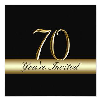 Black Metal Gold Print 70th Birthday Invitations