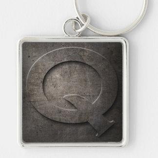 Black Metal Rustic Q Monogram Keychain