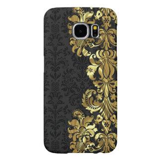 Black & Metallic Gold Vintage Floral Damasks Samsung Galaxy S6 Cases
