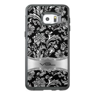 Black Metallic Silver Floral Damask OtterBox Samsung Galaxy S6 Edge Plus Case