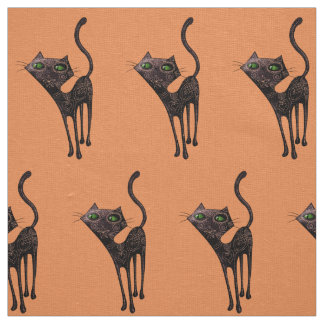 Black Mexican Day of The Dead Cat Fabric
