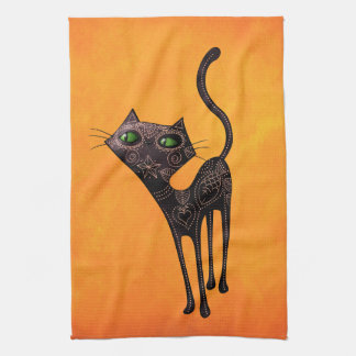 Black Mexican Day of The Dead Cat Tea Towel