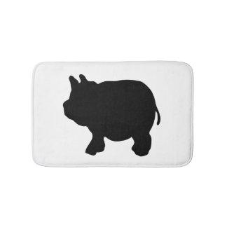 Black Mini Pig Silhouette Bath Mats