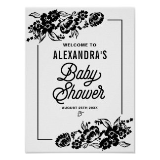 Black Modern Floral Accents Baby Shower Sign Poster