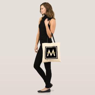 Black Monogram Personalised Tote Bag