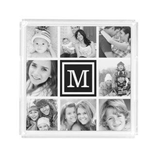 Black Monogram Photo Collage Acrylic Tray