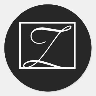 Black Monogram Z Wedding Invitation Labels Classic Round Sticker