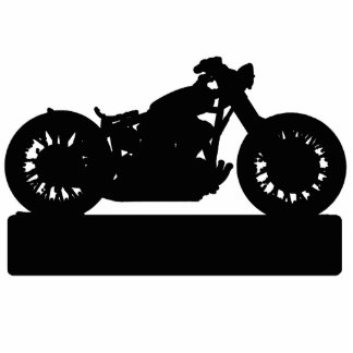 Black Motorcycle Standing Photo Sculpture