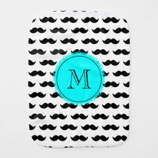 Black Mustache Pattern, Aqua Blue Monogram Burp Cloths