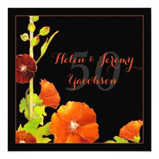 Black n Red Floral 50th Golden Wedding Anniversary 13 Cm X 13 Cm Square Invitation Card